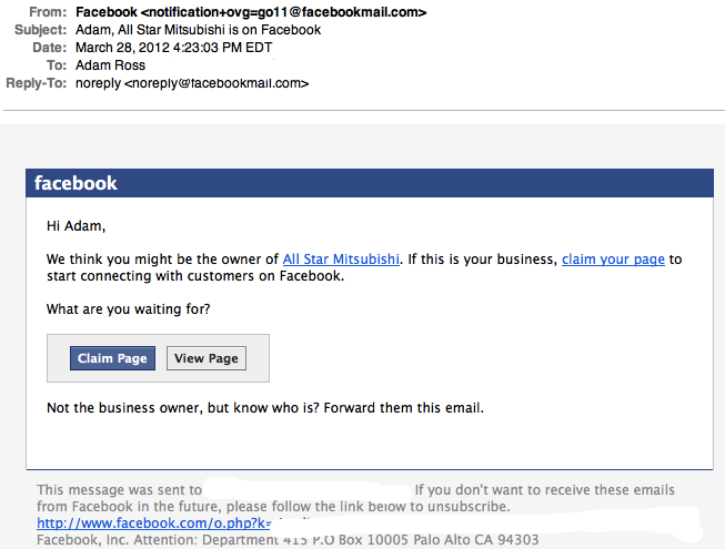 Email from Facebook requesting you to either click a link to claim the page, view the page or forward to the owner