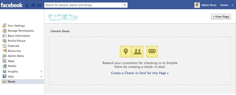 Facebook Fan Page Checkin Deal Setup Screen 1