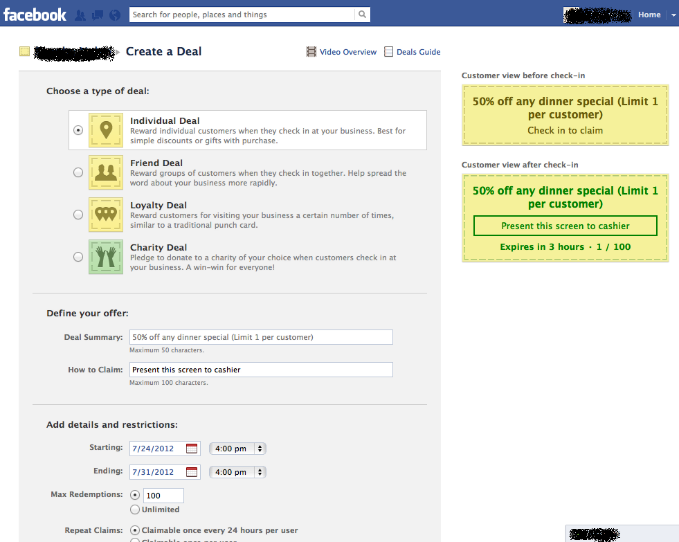 Facebook Fan Page Checkin Deal Setup Screen 2