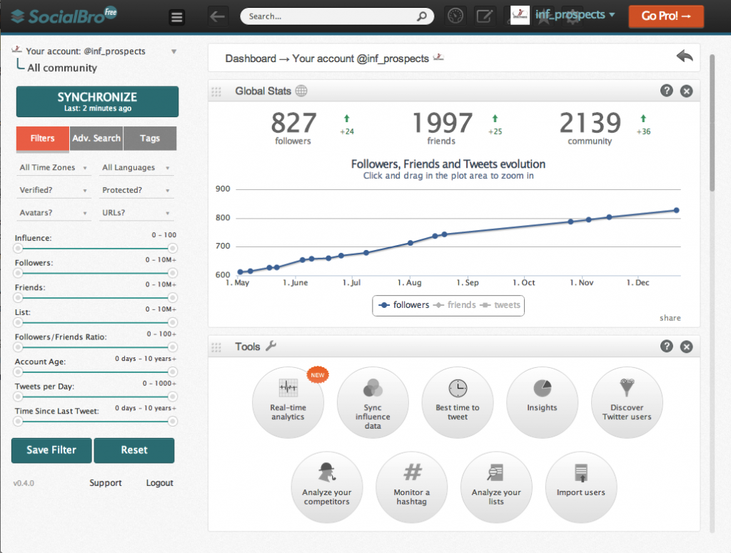 Home Page of Social Bro, a Twitter Analytics tool